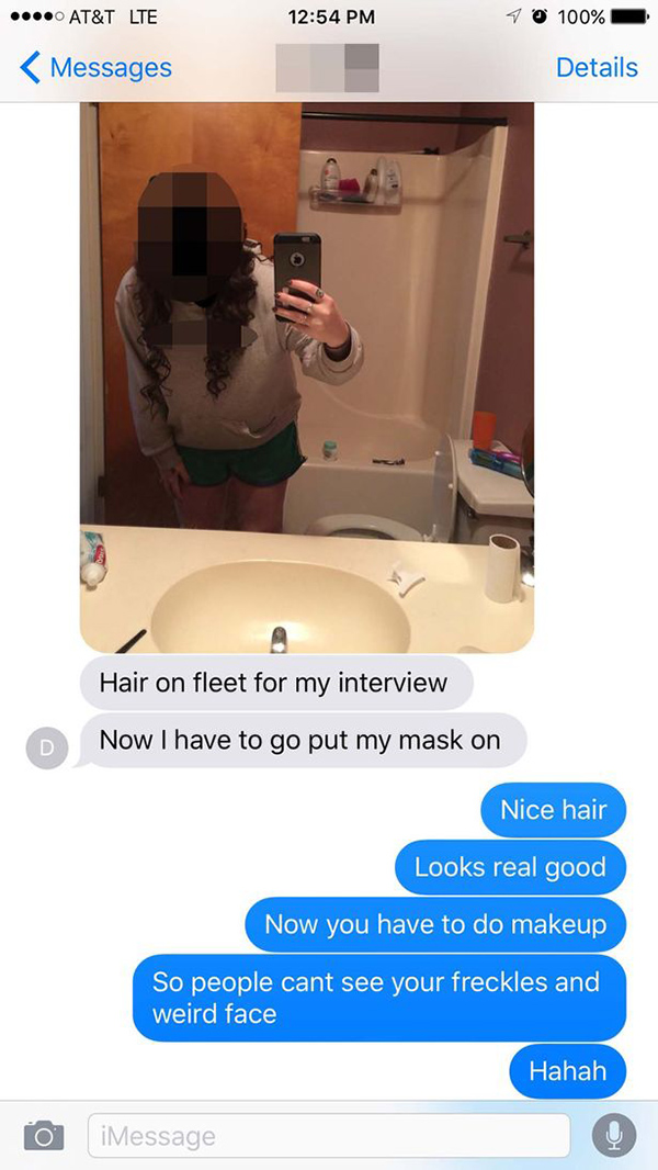 Woman Sends Parents Selfie, Immediately Regrets It