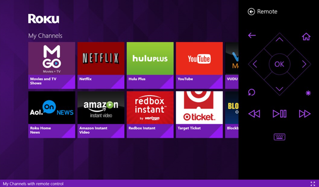 Roku remote control app for Windows Phone and Windows 8