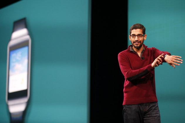 Sundar Pichai shows Android Wear at I/O 2014
