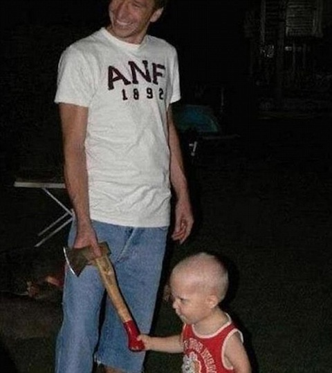 funny dads, best dads, dad gives son axe