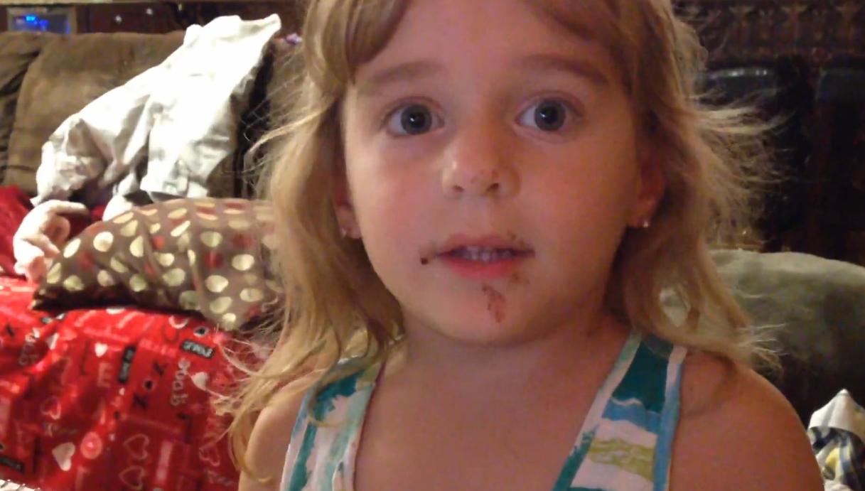 So cute: Guilty toddler denies eating chocolate donut