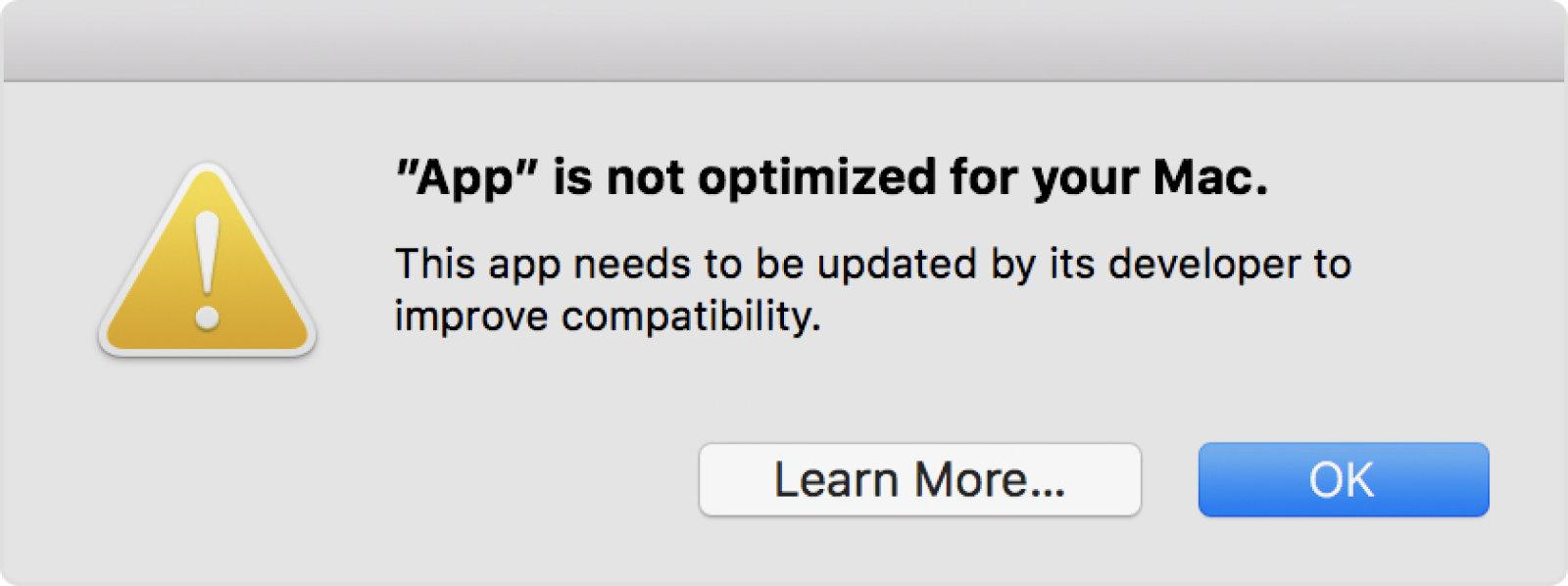 macOS warnt nun vor 32-Bit Apps
