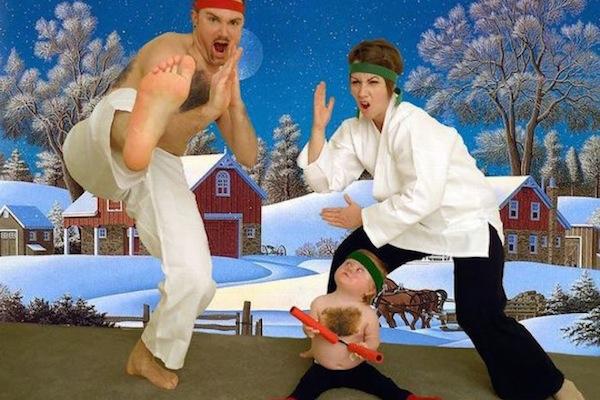funny christmas cards, funny christmas photos, karate christmas