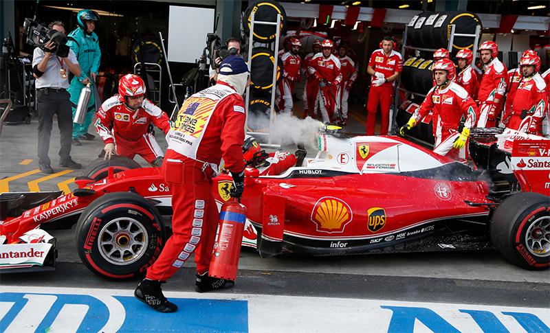 A Ferrari in the pits at the 2016 Australian F1 Grand Prix.