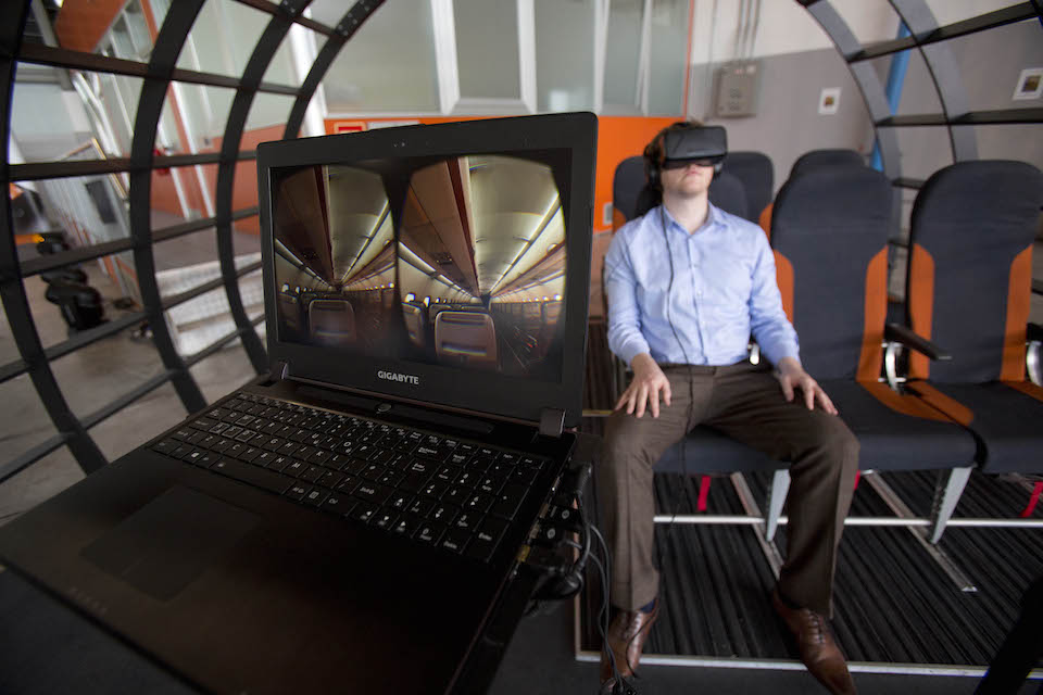 easyJet  Innovations event at Milan Malpensa Airport,Italy.Virtual plane device