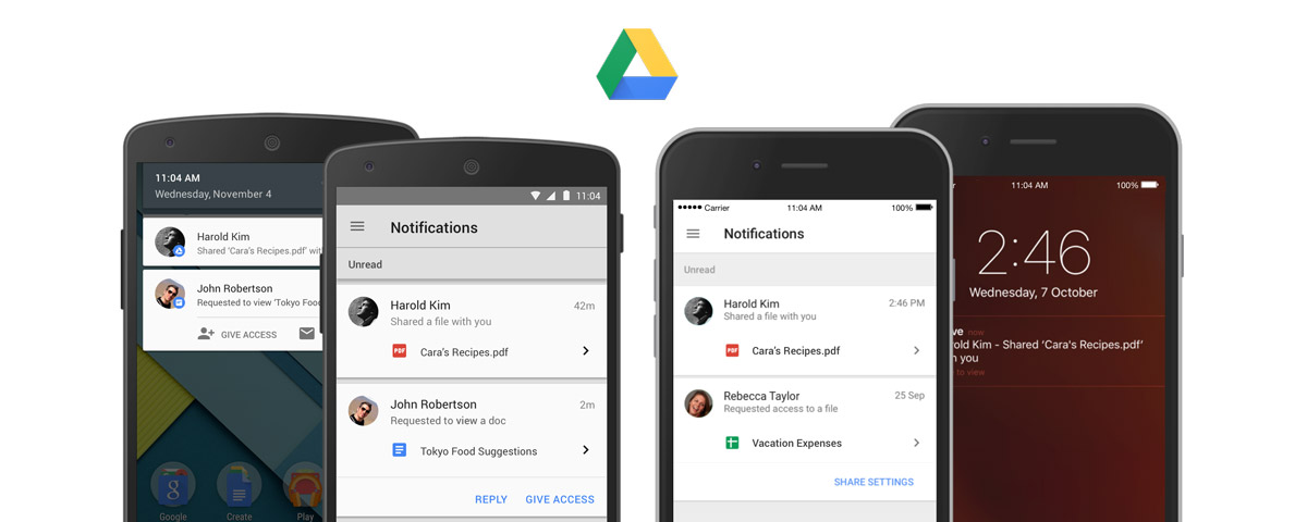 Google Drive sends you phone alerts for shared files