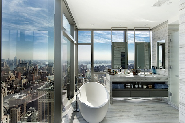 master bathroom with skyline view