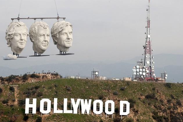 【ビデオ】『グランド・ツアー』司会者トリオの巨大頭部像がロサンゼルスに出没