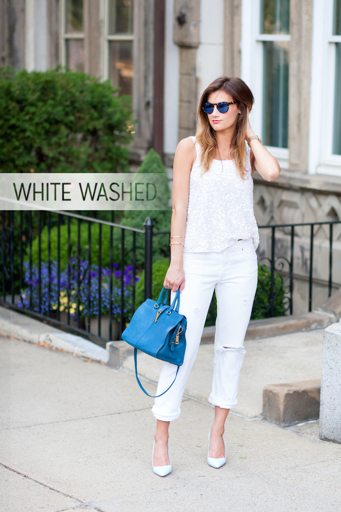 White washed: Boyfriend jeans + sequins