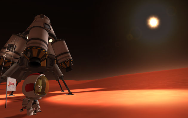 A Kerbal lands on Duna