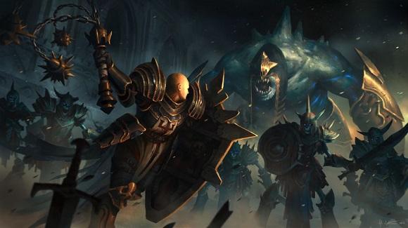 A crusader fights a demon