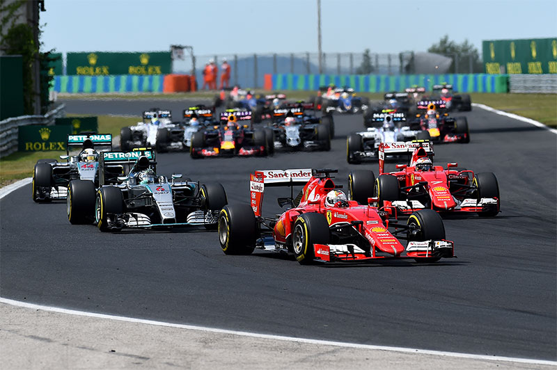 The second corner of the 2015 Hungarian Grand Prix.