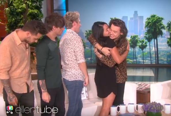superfan hug kiss one direction harry styles ellen degeneres