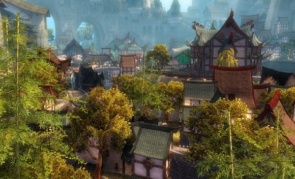 A screenshot of the Canthan district from GW2's alpha