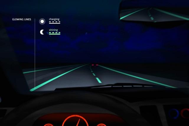 Erste Testergebnisse zu Autobahn mit phosphoreszierender Fahrbahnmarkierung
