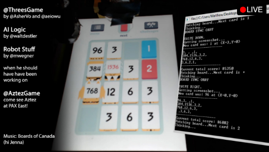 Watch a robot play Threes better than you can, live on Twitch