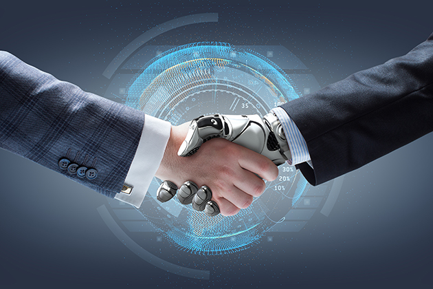 Businessman and robot's handshake with holographic Earth globe on background. Artificial intelligence technology; Shutterstock ID 317361941; PO: aol; Job: production; Client: drone