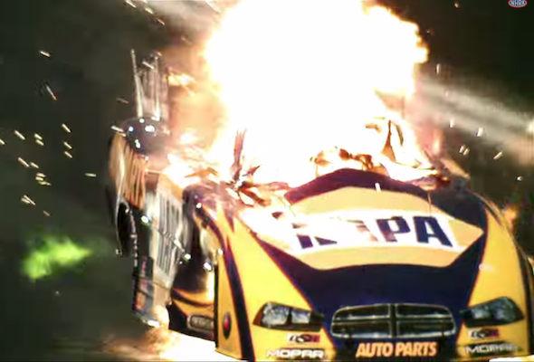 Drag racer fire
