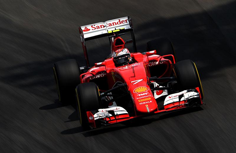 Kimi Raikkonen drives during the 2015 Brazilian F1 Grand Prix.