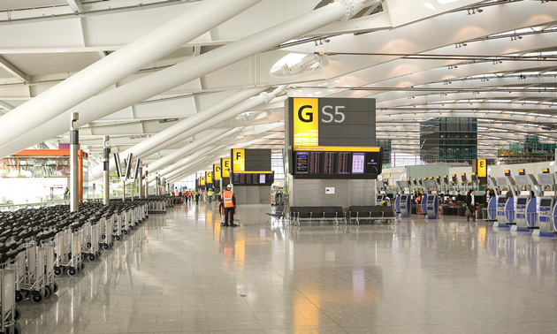 Terminal 5, Heathrow, with photoshopped Samsung Galaxy S5 branding