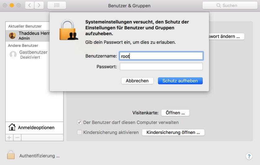 MacOS: Die Rückkehr des Root-Bugs bei Update auf macOS 10.13.1