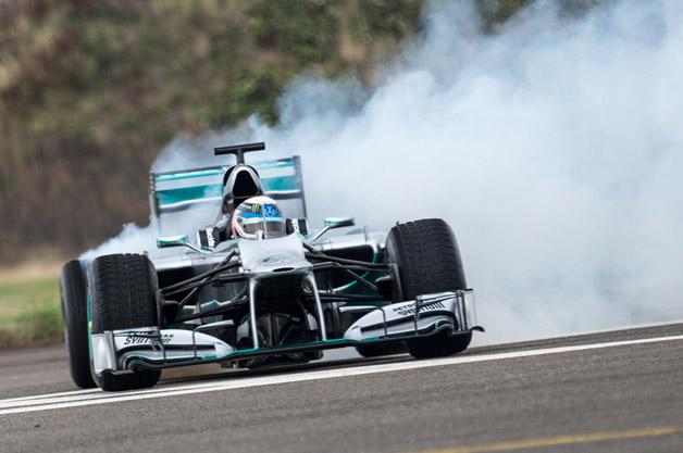 Anthony Davidson in Mercedes F1 W03 at Edinburgh Airport