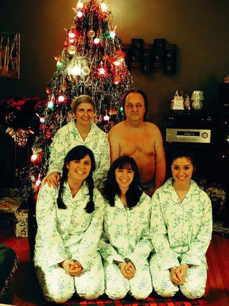 funny christmas cards, funny christmas photos, naked dad christmas