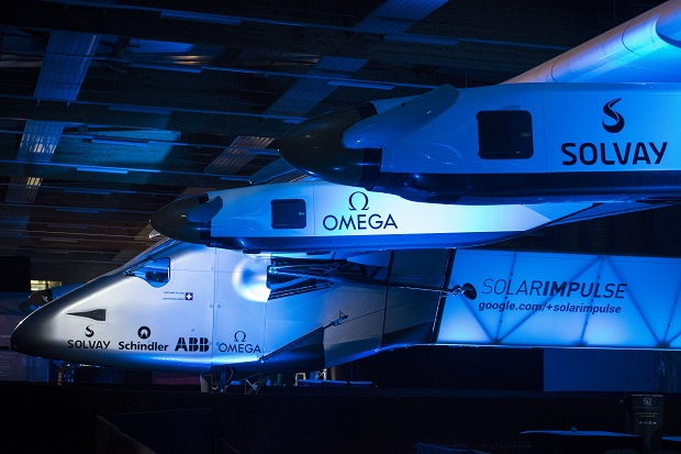 Payerne, Switzerland: Solar Impulse 2, the single seater solar airplane with which Bertrand Piccard and André Borschberg will attempt in 2015 the first round-the-world solar flight.