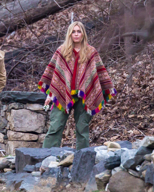 Miley Cyrus in long wig and hippie outfit seen filming Woody Allen's Amazon Project In Upstate New York. <P> Pictured: Miley Cyrus <B>Ref: SPL1243128  110316  </B><BR/> Picture by: Allan Bregg / Splash News<BR/> </P><P> <B>Splash News and Pictures</B><BR/> Los Angeles: 310-821-2666<BR/> New York: 212-619-2666<BR/> London: 870-934-2666<BR/> photodesk@splashnews.com<BR/> </P>