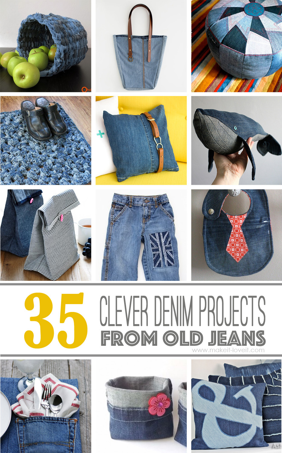 35 clever projects that 39 ll make it easier to part ways for Denim craft projects