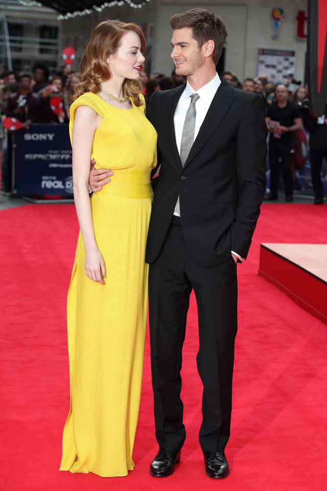 LONDON, ENGLAND - APRIL 10:  Emma Stone and Andrew Garfield attend the World Premiere of