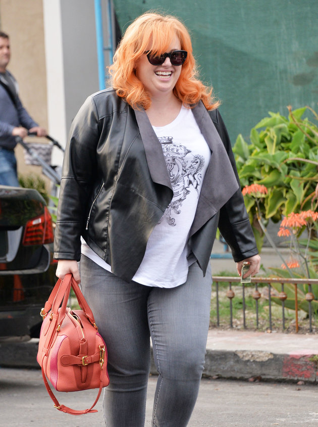 51988252 Actress Rebel Wilson shows off her bold new orange hair color while leaving a West Hollywood, California salon on March 4, 2016. FameFlynet, Inc - Beverly Hills, CA, USA - +1 (310) 505-9876