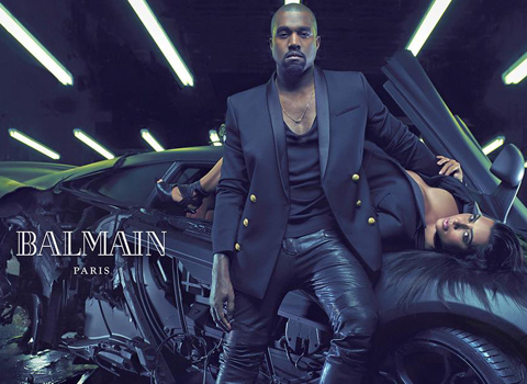Kim Kardashian Kanye West Balmain ads