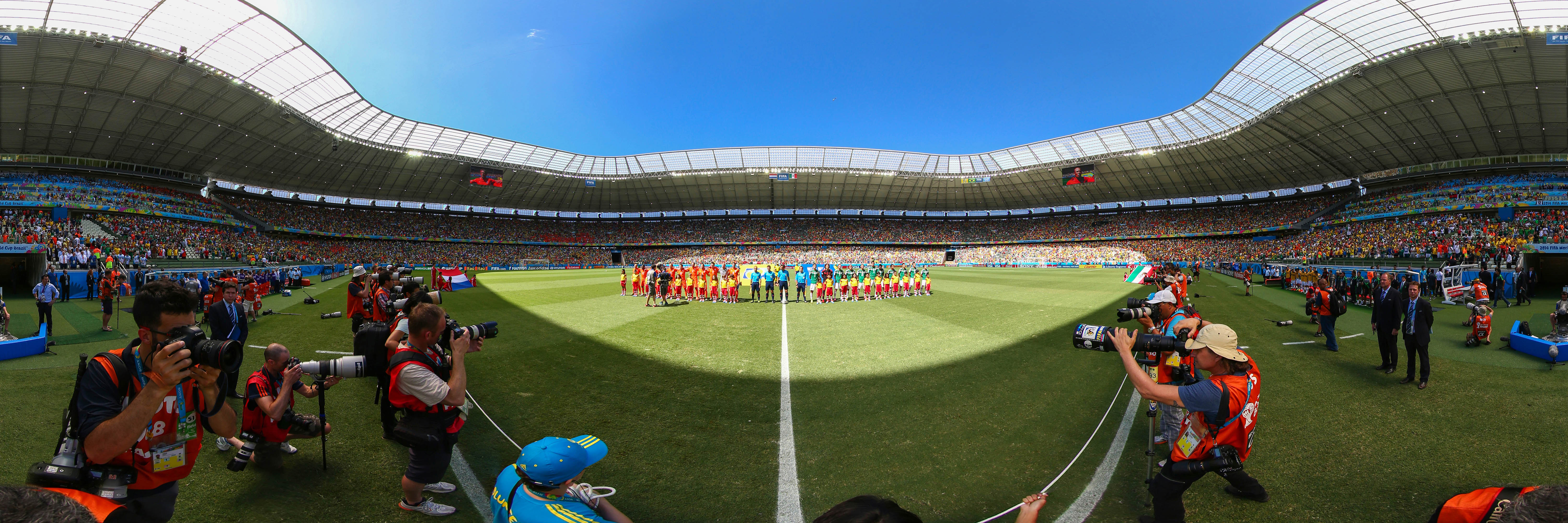 FORTALEZA, BRAZIL - JUNE 29:  EDITOR'S NOTE: Image was created as an Equirectangular Panorama. Import image into a panoramic player to create an interactive 360 degree view. Exclusive Content, outside of all subscription agreements - Premium Pricing applies) The teams line up before the 2014 FIFA World Cup Brazil Round of 16 match between Netherlands and Mexico at Castelao on June 29, 2014 in Fortaleza, Brazil.  (Photo by Robert Cianflone/360/Getty Images)