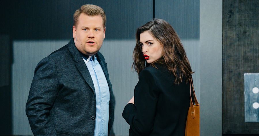 """Anne Hathaway performs in Soundtrack to a Rom-Com with James Corden during """"The Late Late Show with James Corden,"""" Thursday, April 20, 2017 (12:35 PM-1:37 AM ET/PT) On The CBS Television Network.  Photo: Terence Patrick/CBS ©2017 CBS Broadcasting, Inc. All Rights Reserved"""