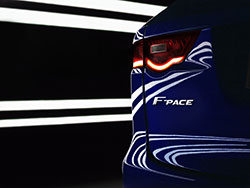 A close-up of the badge on the coming performance crossover from Jaguar; the F-Pace.