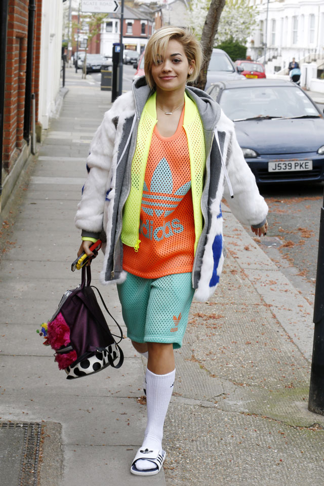 LONDON, UNITED KINGDOM - APRIL 04: Rita Ora seen leaving a music studio on April 4, 2014 in London, England. (Photo by Tom Phelan/GC Images)