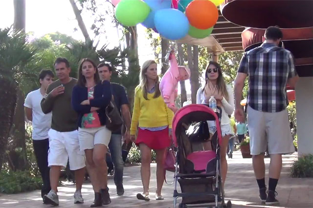 baby floating on balloons prank