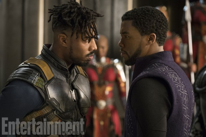 Marvel Studios' BLACK PANTHER<br /> L to R: Erik Killmonger (Michael B. Jordan) and T'Challa/Black Panther (Chadwick Boseman)<br /><br /> Credit: Matt Kennedy/©Marvel Studios 2018