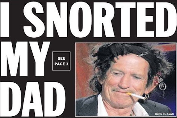 most amazing things ever snorted, bizarre items to snort, keith richards dad