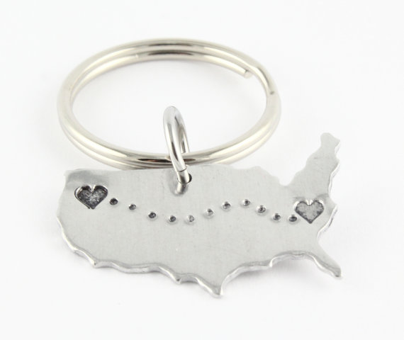 customized United States keychain for long distance relationship
