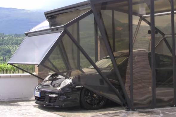 Folding Car Garage Cover : Italian company create incredible folding garage cars