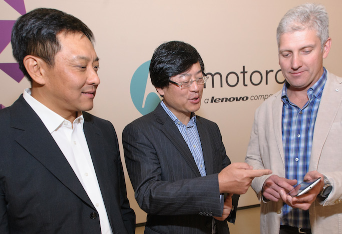 CHICAGO, IL - OCTOBER 29:  Motorola Mobility/Lenovo Acquisition Day on October 29, 2014 in Chicago, Illinois.  (Photo by Timothy Hiatt/Getty Images for Motorola)