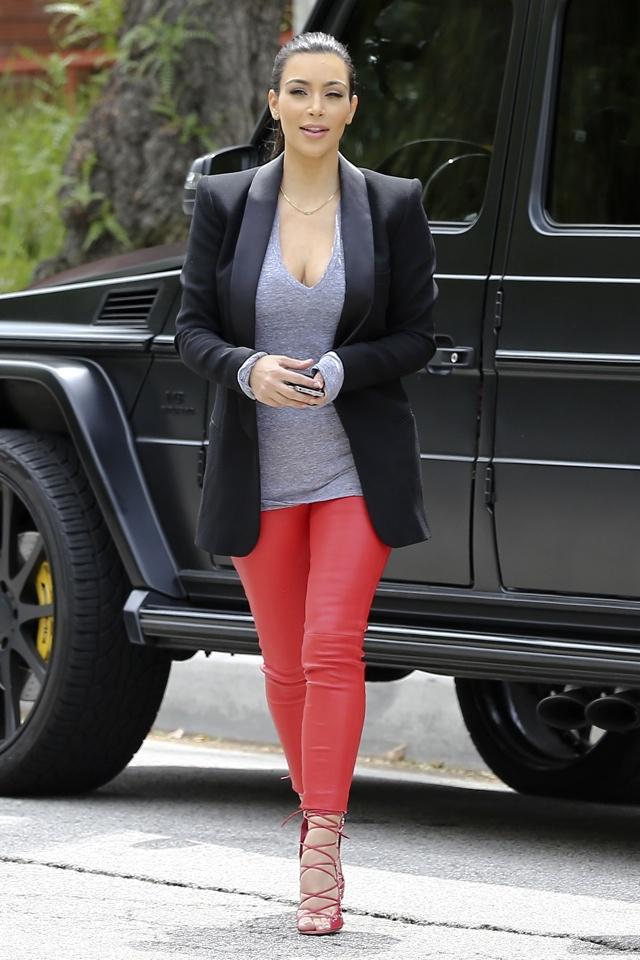 Kim Kardashian Daisy Dukes Kim Kardashian Does Red Leather Trousers While Khloe