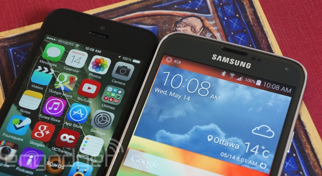 Apple iPhone 5 and Samsung Galaxy S5