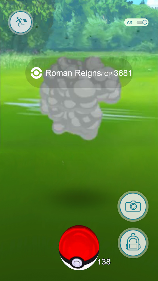 wwe pokemon go, roman reigns runs