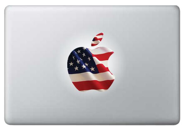US Flag Apple laptop decal