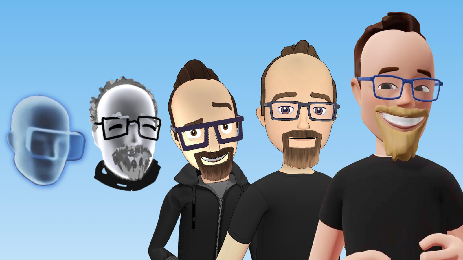 The progression of Facebook's Spaces avatars