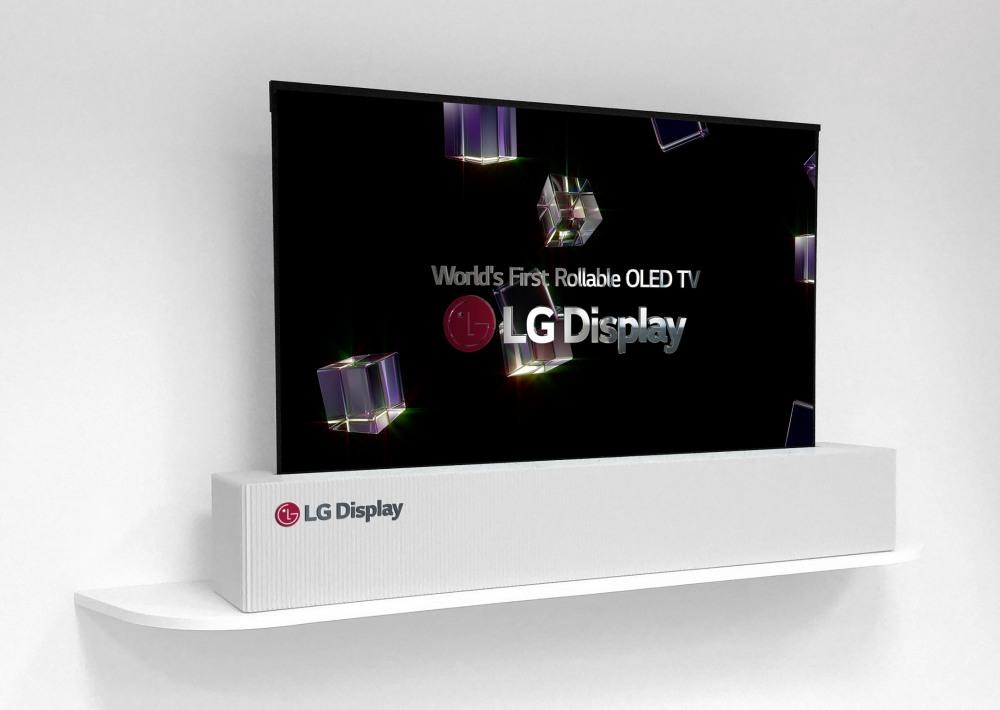 LG zeigt ein aufrollbares OLED-Display in 65-Zoll
