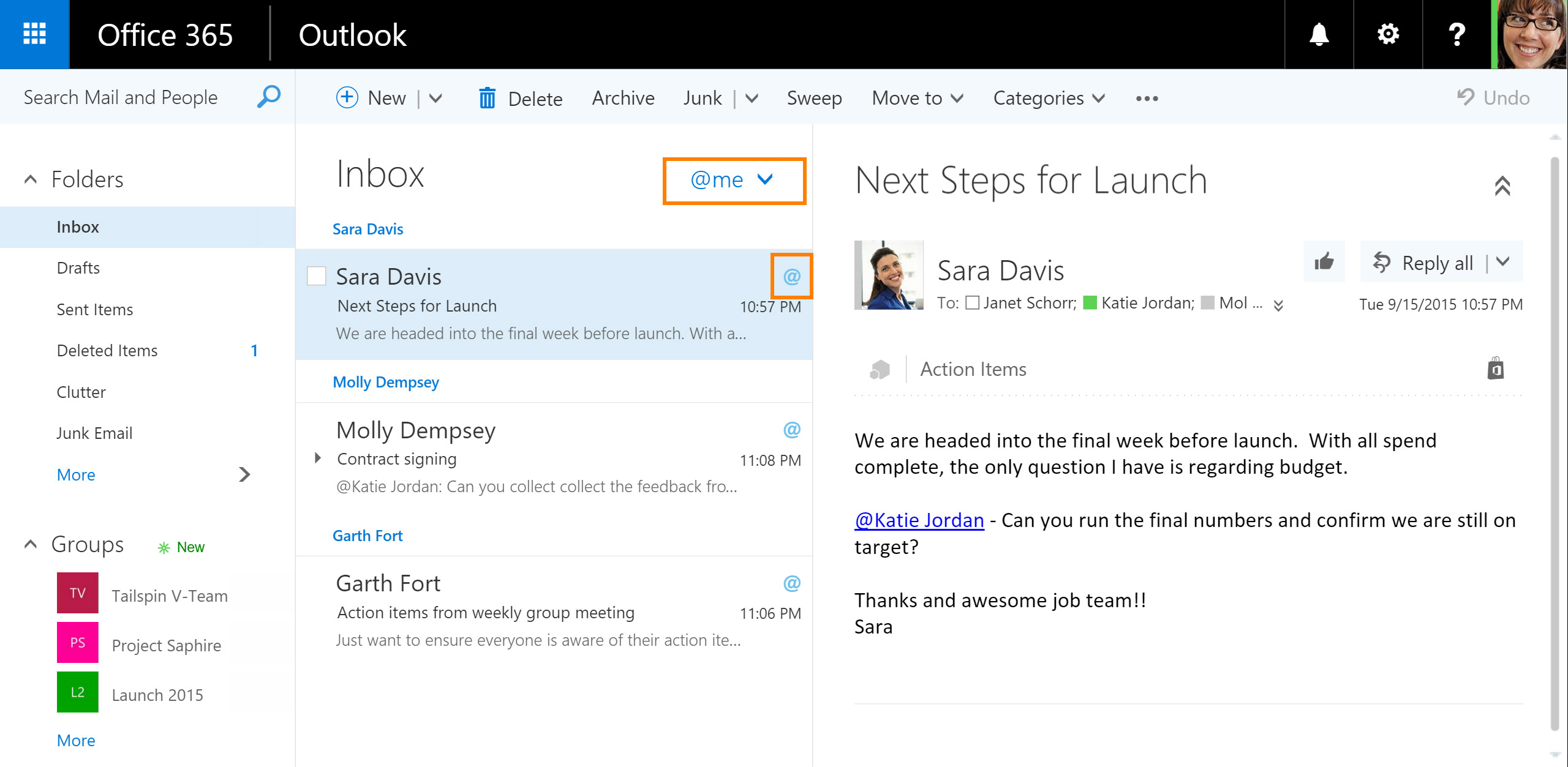Outlook on the web borrows Facebook's Like and Twitter's @mention